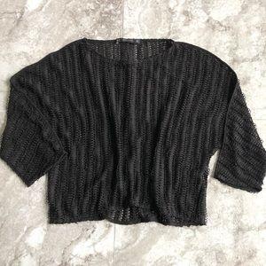 Zara open knit black dolman long sleeve top